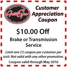 $10 Off Brake or Transmission Service